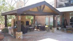 Outdoor Fireplace and Living with a Patio Pavillion, back porch addition