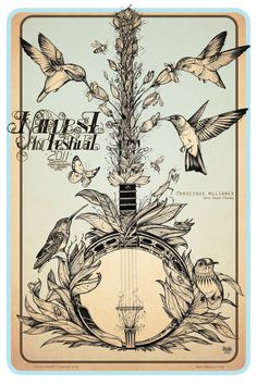Poster Design : Harvest Festival : Conscious Alliance, Hummingbirds, David Hale