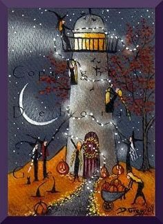 Definitely Needs Some Work, a tiny Lighthouse Witches Decorate For Halloween PRINT by Deborah Gregg Retro Halloween, Halloween Quilts, Vintage Halloween Cards, Halloween Pictures, Halloween Signs, Fall Halloween, Halloween Crafts, Happy Halloween, Halloween Stuff