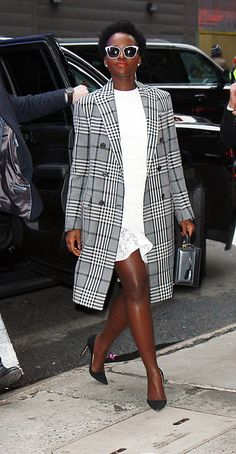 Miss Lupita really quieted down her fashion choices for her New York PR sortie, going from the high-glam Afro-Futurism of her Black Panther red carpetry to