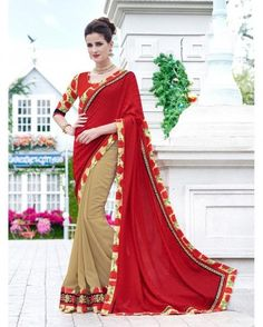 Red and beige color georgette saree online shopping India | PurpleYou | Sweet Couch