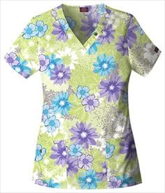"""Dickies V-Neck Scrub Top in """"Flourish"""" 84745-FLSH A classic Missy fit  V-neck top features  button and belt loop details around the neckline.  Large patch pockets,  an extra cell phone pocket with a functional button and side vents complete the picture. Center back length: 27"""". $20.25 #scrubs #scrubcouture #nurses"""