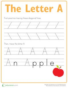 First, kids trace lines on this prekindergarten writing worksheet to strengthen the fine motor skills needed to form the letter A. Then they trace the letter A!