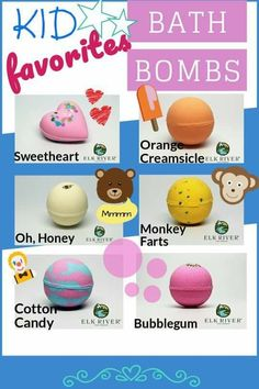 Kids favorites. All products under $15. ELK RIVER SOAP COMPANY. Bath bombs, lotion bars, aromatherapy, fizzy, balms, SOAP. Made fresh in Missouri. #gifts