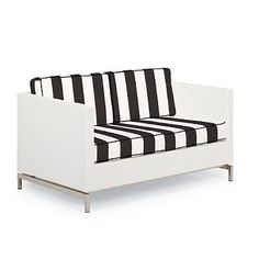 Metropolitan Loveseat with Cushions in White Finish