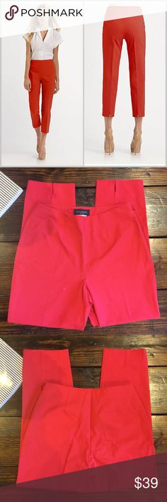 """Piazza Sempione Audrey Gabardine Red Cotton Crops N perfect condition the fabulous red crops are perfect for comfy office wear.    A great summer dress!! Size 42 or US size 8  95% Cotton 5% Lycra   Waist: 13"""" Hips: 20"""" Leg Opening: 6.5"""" Rise:  Inseam: Piazza Sempione Pants Capris"""