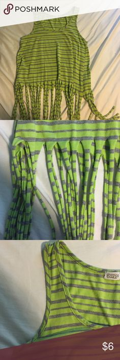 Lime green and gray striped tank top would make for a great bathing suit cover up Charming Charlie Tops Tank Tops