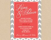 Printable Wedding Invite and RSVP Invitation Set - Coral and Grey Chevron Script Calligraphy Names. $21.00, via Etsy.