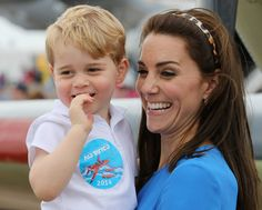 Catherine, Duchess of Cambridge and Prince George during a visit to the Royal International Air Tattoo at RAF Fairford on July 8, 2016 in Fairford, England.