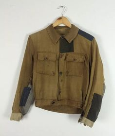 Vintage french 1930s patched darned cycling work wear chore jacket