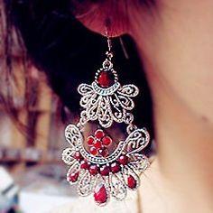 Nepal Retro Faceplate Gem Earrings