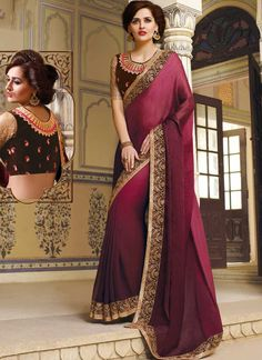 Pleasant Purple Patch Border Lace Shimmer Georgette Designer Sarees. Online embroidery work Sarees in Mumbai