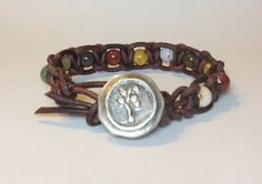 Ocean Jasper Leather Macrame Bracelet w/ Tree of by DesignsByJen1,