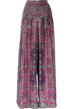 Yves Saint Laurent Printed silk-habotai palazzo pants - These look SOOOO comfy Style Feminin, Palazzo Trousers, Printed Palazzo Pants, Silk Pants, Pleated Pants, Boho Fashion, Womens Fashion, Winter Fashion, Look Cool