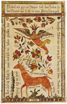 675 RARE WATERCOLOR PRESENTATION FRAKTUR WITH ANGEL AND DOE, JOHANN ADAM EYER (1755-1837) PROBABLY BEMINSTER TOWNSHIP, BUCKS COUNTY, PENNSYL...