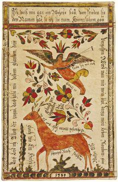 RARE WATERCOLOR PRESENTATION FRAKTUR WITH ANGEL AND DOE, JOHANN ADAM EYER (1755-1837)  BUCKS COUNTY, PENNSYLVANIA
