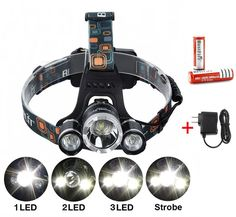 Bestfire3xCree XM-L T6 4Modes 5000 Lumens Headlamp Rechargeable with Adjustable Base Cree LED Headlight Headlamp Bicycle Light with 2pcs Batteries and Charger for Cycling Travelling Camping Hiking etc