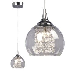 glass shade mini pendant with crystal - Google Search Galaxy Lighting Lowes $112