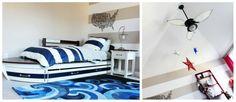 Toddler Boy Nautical Room : bed, walls, alphabet wall, sail ceiling fan, rug, light fixtures.