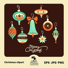 Christmas ornament clipart in blue, brown and orange.  Modern graphics for invitations, Christmas cards and more.