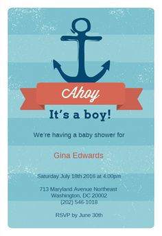 """""""Ahoy It's a Boy""""  printable invitation template. Customize, add text and photos. Print or download for free!"""