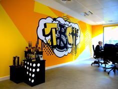 Hand-painted office murals for TBCH marketing office. office art, office graphics, office mural, large graphics