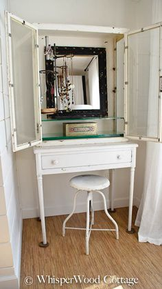 Vintage Medical Cabinet Used as a Jewelry Organizer and Vanity
