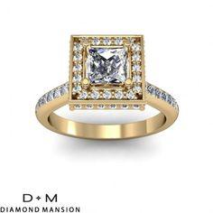 1.10cttw Halo Art Deco Engagement Rings14kt Yellow Gold#asschercutdiamond #asscher #asschercutengagementring #halo $1813