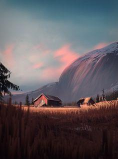 West-Telemark by Henrik Evensen on ArtStation. Fantasy Landscape, Landscape Art, Fantasy Art, Environment Concept Art, Environment Design, Bg Design, Matte Painting, Environmental Art, Digital Illustration