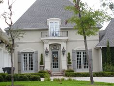 French Country by W. Gross Construction in Osprey Cove Golf and Country Club, St. Exterior Color Schemes, Exterior Paint Colors For House, Paint Colors For Home, Stucco Exterior, Cottage Exterior, Dream House Exterior, French Country Exterior, French Country House, French Cottage