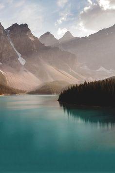 mountains, lake, sun
