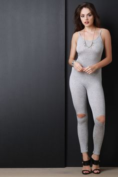 Cut Out Knee Sleeveless Jumpsuit