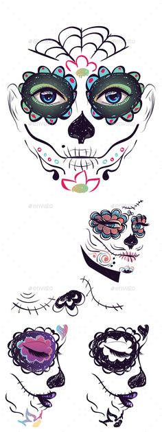 Day of Dead Girl Face by AnnArtshock Sugar skull girl face with make up for Day of the Dead Dia de los Muertos