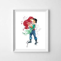 Ariel and prince Eric, Ariel, Ariel printable, Ariel print, Ariel art, little mermaid printable, little mermaid, Ariel little mermaid Prince Eric And Ariel, Crown Printable, Little Mermaid 2, Bar Art, Dog Silhouette, Disney Princes, Gold Print, Photo Booth Props, Typography Prints