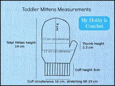 Toddler Mitten Size Graphic & Free Crochet Toddler Mittens Pattern with Tutorial by My Hobby Is Crochet: Ceyla - Crochet Baby Mittens, Toddler Mittens, Crochet Mittens Free Pattern, Crochet Baby Blanket Beginner, Crochet Gloves, Crochet Baby Booties, Crochet Slippers, Free Crochet, Crochet Patterns