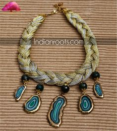 Braided necklace with black beads and blue uncut stones by Anjali Jain on Indianroots.com