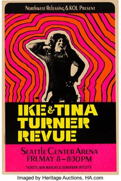 Ike & Tina Turner Hot Pink Day-Glo Concert Poster (1970).. ... | Lot #89065 | Heritage Auctions