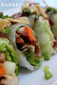 Barbecue chicken spring rolls get an upgrade with ranch dressing.