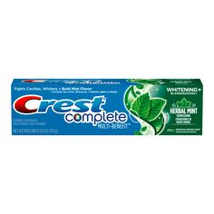 Crest Complete Multi-Benefit Whitening + Herbal Mint Expressions, Extreme Herbal Mint Toothpaste - Oz, Pack of 6 Flavored Toothpaste, Whitening Fluoride Toothpaste, Teeth Whitening, Crest Whitening, Get Whiter Teeth, How To Prevent Cavities, Dental Supplies, Medical Help, Expressions