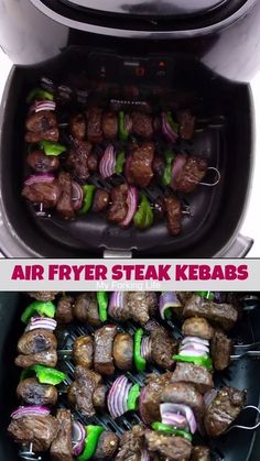 These delicious and easy Air Fryer Steak Kebabs are made in your Air Fryer with little effort. Marinated steak and delicious air fried vegetables make this air fryer recipe a family favorite. Cooks Air Fryer, Air Fryer Steak, Air Fryer Pork Chops, Air Fryer Dinner Recipes, Air Fryer Oven Recipes, Air Fryer Recipes Videos, Recipe Videos, Food Styling, Steaks