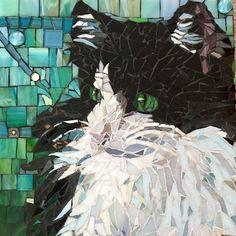 "Mosaic pet portrait custom made to order 12""x12"""