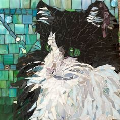 "Mosaic pet portrait custom made to order 12""x12"""