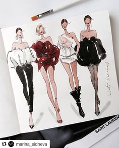 Fashion Illustration Speed Painting with Ink - Drawing On Demand Fashion Design Sketchbook, Fashion Illustration Sketches, Fashion Design Drawings, Illustration Mode, Fashion Sketches, Fashion Design Inspiration, Sketch Inspiration, Portfolio Fashion, Trendy Fashion