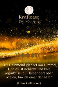 Der Halbmond glänzet am Himmel, und es ist neblicht und kalt....#Magie#Leben#Mond#Energie#Himmel#Halbmond Magical Quotes, Cold, Heavens, Knowledge, Life