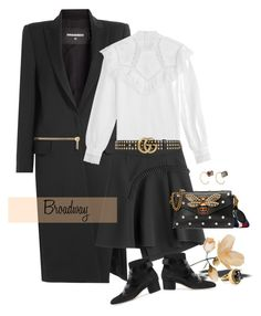 """""""Broadway Leather"""" by jacque-reid ❤ liked on Polyvore featuring Dsquared2, Vilshenko, Carven, Gucci, Melissa Joy Manning, Jimmy Choo, Chico's, jimmychoo, gucci and dsquared2"""