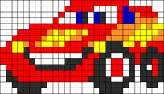 Lightning Mcqueen Perler Bead Pattern | Bead Sprites | Characters Fuse Bead Patterns                                                                                                                                                     More