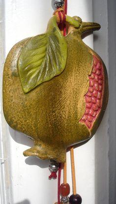 XMAS last shipment December USA Canada Australia! Greek Ceramic Pomegranate Ornament This is a unique piece, made with Terracota, Ceramic Pottery, Pottery Art, Ceramic Art, Pomegranate Art, Greece Art, Hand Molding, House Ornaments, Ceramic Houses, Pottery Classes
