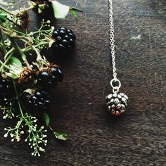 Sterling silver blackberry necklace, Autumn jewellery £35.00