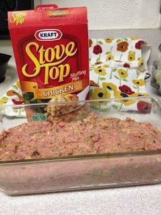 Easy Meatloaf: Meatloaf made with stove top stuffing. Gets rave reviews and is SUPER easy. 1 Pound Ground Meat 1 Egg 1 Box Stuffing Mix 1 Cup Water  Mix everything together, place into a loaf pan, and bake at 350 for about 45 minutes. Supper is served!