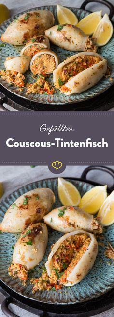 Diese kleinen Tintenfisch-Raketen sind mit Couscous gefüllt. Mit einem Stück Zitrone serviert, hast du hast du das Mittelmeer schon fast vor der Tür.